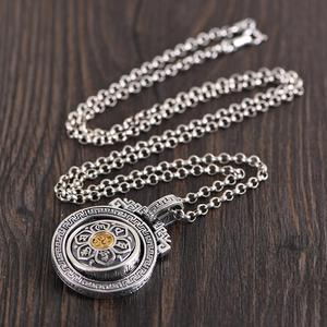 Image 5 - BALMORA 925 Sterling Silver 360 Rapid Rotating Six Words Sutra Pendants & Necklace for Women Men Buddhism Cool Fashion Jewelry