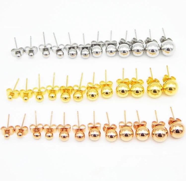 5 пар / лот, хирургические серьги-гвоздики из нержавеющей стали, женские серьги диаметром 3/4/5/6/7/8 мм, серьги из нержавеющей стали 316L, ювелирные...