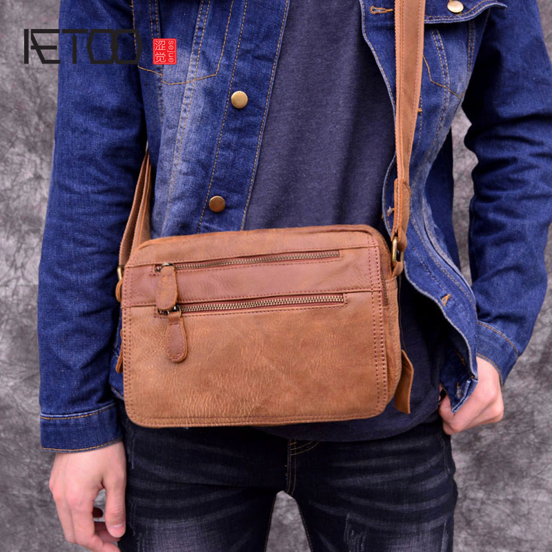 AETOO Vintage genuine leather men's crossbody bag cowhide leather cross section small bag summer leisure bag