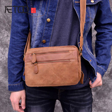 AETOO Vintage genuine leather mens crossbody bag cowhide cross section small summer leisure
