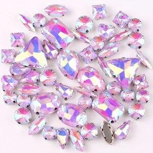 Набор серебряных когтей желейные конфеты фиолетовый AB 50 штук пакет формы смешанные стеклянные кристаллы пришитые стразы свадебные модельн...