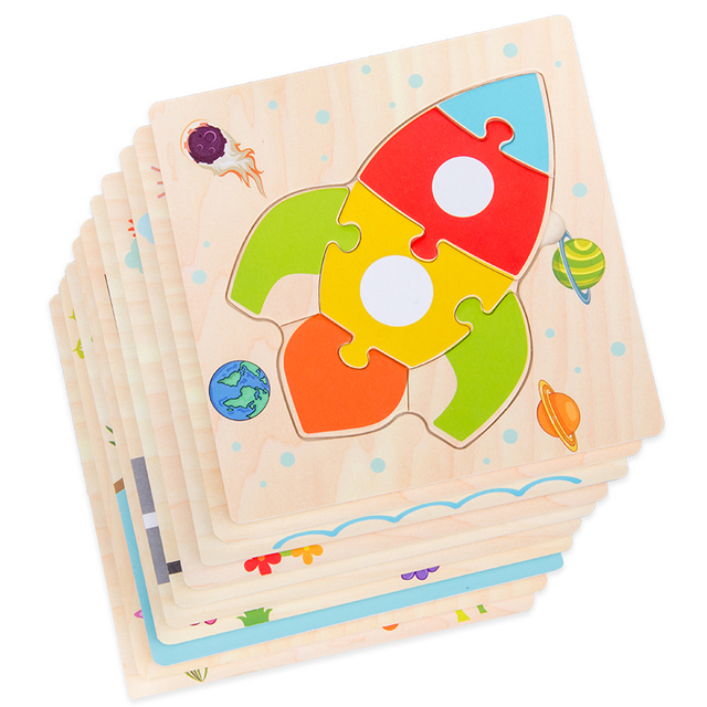 Baby Toys Wooden 3d Puzzle Tangram Shapes Learning Cartoon Animal Intelligence Jigsaw Puzzle Toys For Children Educational 4