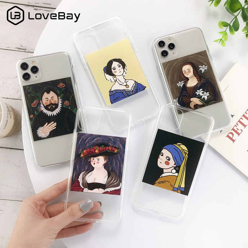 Lovebay For iPhone 11 Phone Case Funny Art Oil Paintings For iPhone 7 8 6 6s Plus 11 Pro X XR XS Max 5s SE Clear Soft TPU Cover