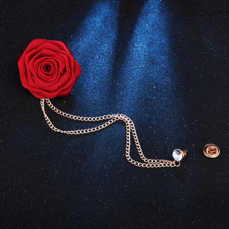 Red Rose Fiori Risvolto Spille Degli Uomini di Cerimonia Nuziale Bouquet Fatti A Mano Spilla Asola Groomsmen Sposo Corpetto Della Catena Della Nappa del Vestito Accessori