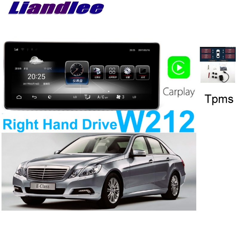 Liandlee Car <font><b>Multimedia</b></font> Player NAVI For <font><b>Mercedes</b></font> Benz MB E <font><b>W212</b></font> E200 Right Hand Drive RHD CarPlay TPMS Stereo GPS Navigation image