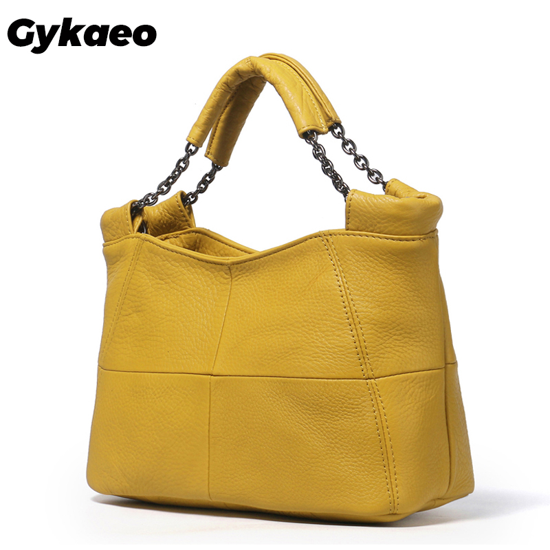 Gykaeo 2019 Summer European and American Style Fashion Handbag Lady Chain Soft Genuine Leather Tote Bags for Women Messenger Bag