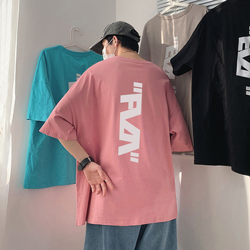 Korean Designer Oversized T-shirt with Letter Print for Mens Summer Tops Harajuku Colorful Streetwear Graphic Tee Couple Clothes letter print stepped hem tee