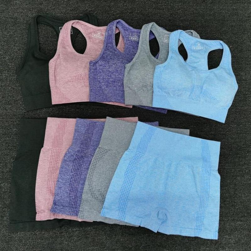 Женские Летние бесшовные комплекты для йоги, спортивные костюмы для фитнеса, одежда для спортзала, бюстгальтер для йоги + шорты с высокой та...