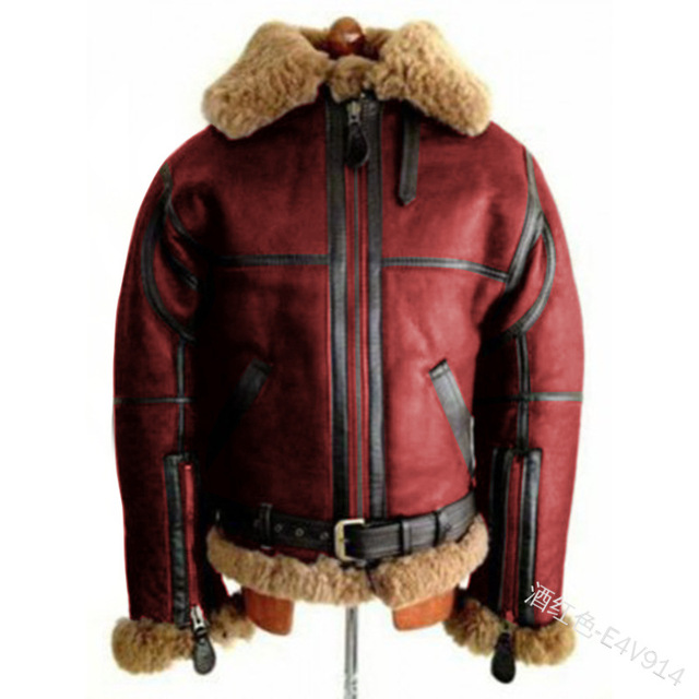 WEPBEL Winter Men's PU Leather Jacket Mens Fleece Fur Collar Motorcycle Jackets Casual Outdoor Thermal Leather Coats 2