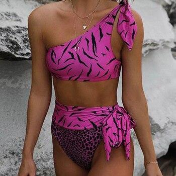 Bikini Mujer 2020 Sexy Swim Suit Leopard Print Push Up Bikini Set High Waist One-shoulder Tube Bow Bikini Suit Two Piece Bather фото