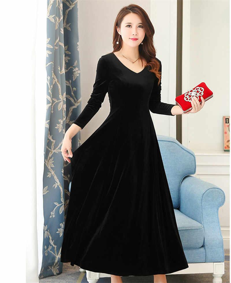 סתיו חורף נשים של אדום קטיפה שמלה ארוך שרוול מקסי Vestido מקרית Slim נשים בגדי שמלות ערב בציר WXF637