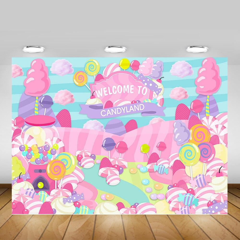 Doces tema de aniversário banner fotografia pano de fundo bem-vindo ao candyland doce princesa chá de fraldas fundo crianças pirulito