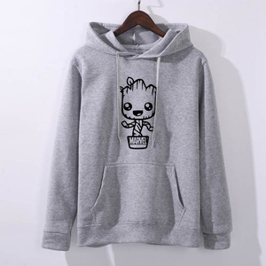 Image 5 - Groot Design Newest 2019 Funny kawaii Hoodie Womens Fashion Short Sleeve Hoodies  Hipster O neck Popular Sweatshirts