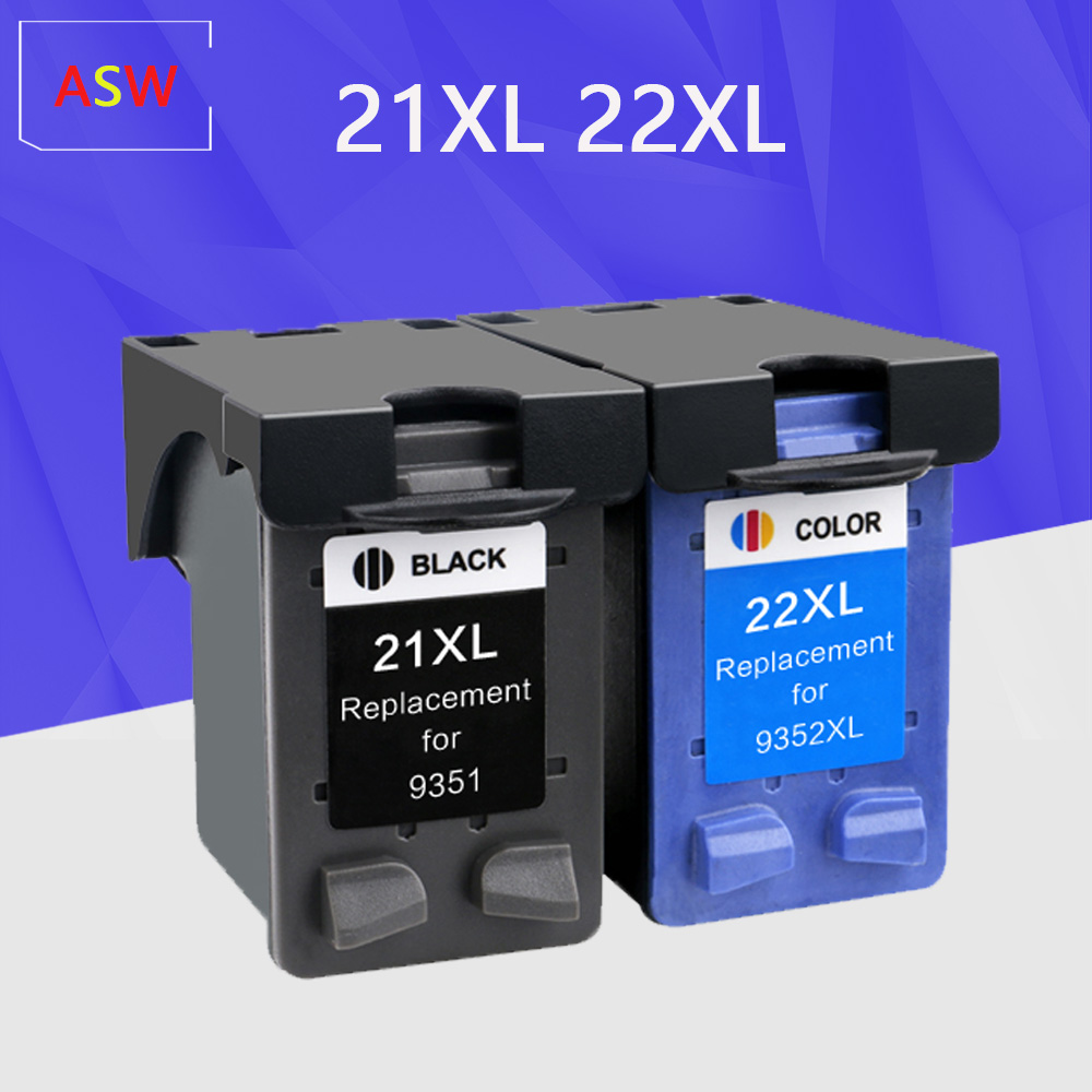ASW 21XL 22XL Ink Cartridge Replacement For Hp 21xl Hp22 For Hp Deskjet F2180 F2200 F2280 F4180 F300 F380 380 D2300 Printers