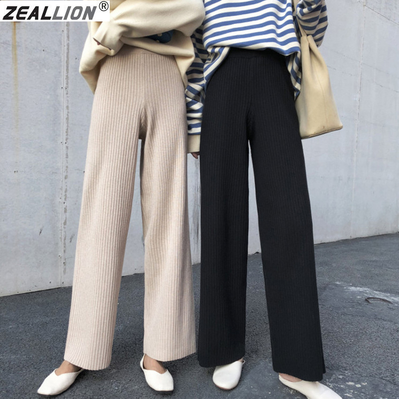 2019 Korean Women Trousers Autumn Winter Knitted Wide Leg Pants Elastic High Waist Female Casual Loose Pant