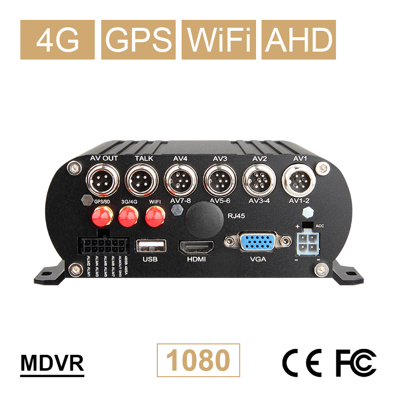 8CH WIFI GPS 4G LTE AHD Mobile Dvr Free Shipping 24H Monitoring Real Time Surveillance Remote HDD Video Recorder Mdvr I/O Alarm