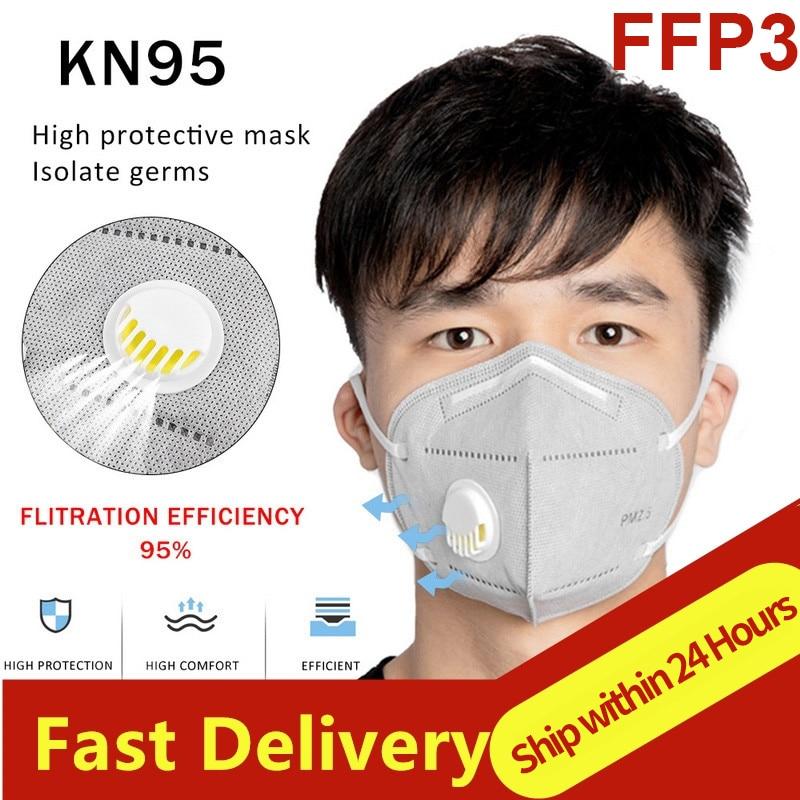 Masques faciaux réutilisables 6 couches FFP2 KN95 FFP3 avec Valve respiratoire, masques anti-poussière de sécurité