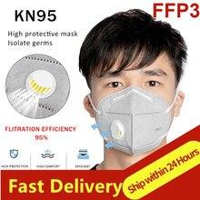 Mascarillas faciales FFP2 KN95 de 6 capas reutilizables, máscaras FFP3 con válvula de respiración, respirador DE SEGURIDAD antipolvo