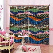 Bohemian retro ethnic style half blackout curtains for living room study bedroom window Curtains custom Wavy fabric Drapes(China)
