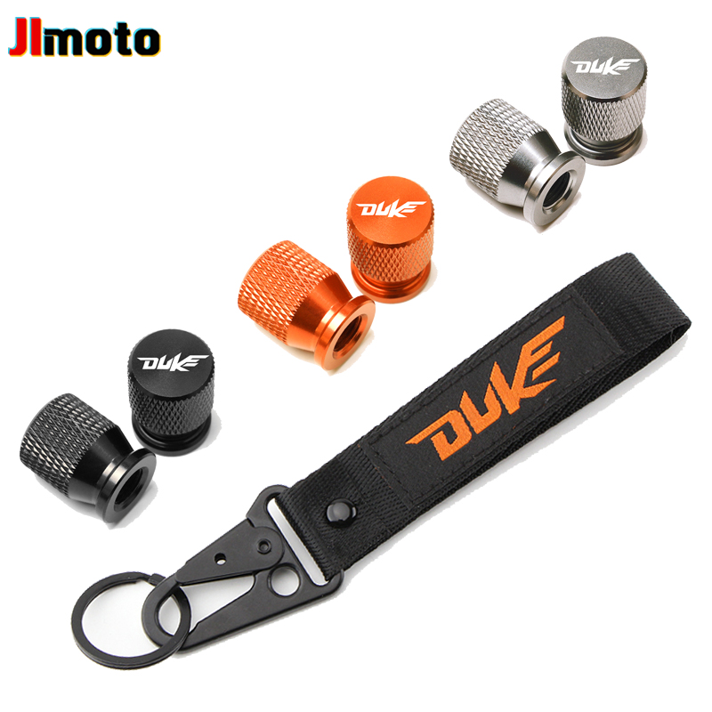 For KTM Duke 125 390 690 200 790 RC390 990 1190 1090 1290 Motorcycle Embroidery Key Chain Keychain Wheel Tire Valve Stem Covers