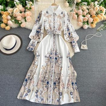FTLZZ New Spring Autumn Women Elegant Notched Collar Single Breasted Floral Print Dress Casual Puff Sleeve Long Dress with Belt 1