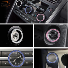YOLU Ignition Switch Decorative Ring One Button Start Decoration Stick Drill Pink White Blue Diamond Car