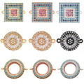 Charms Connecrots for Jewelry Making Supplies Charms for Diy Bracelet Necklace Copper Mosaic CZ Charm Geometric Circles Squares