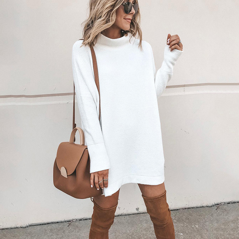 Elegant O-Neck Pullover Dress Women