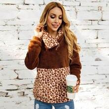 Women Leopard Zipper Turtleneck Sweater Sherpa Fluffy Pullovers Sexy Patchwork Winter Streetwear Female Teddy Sweaters