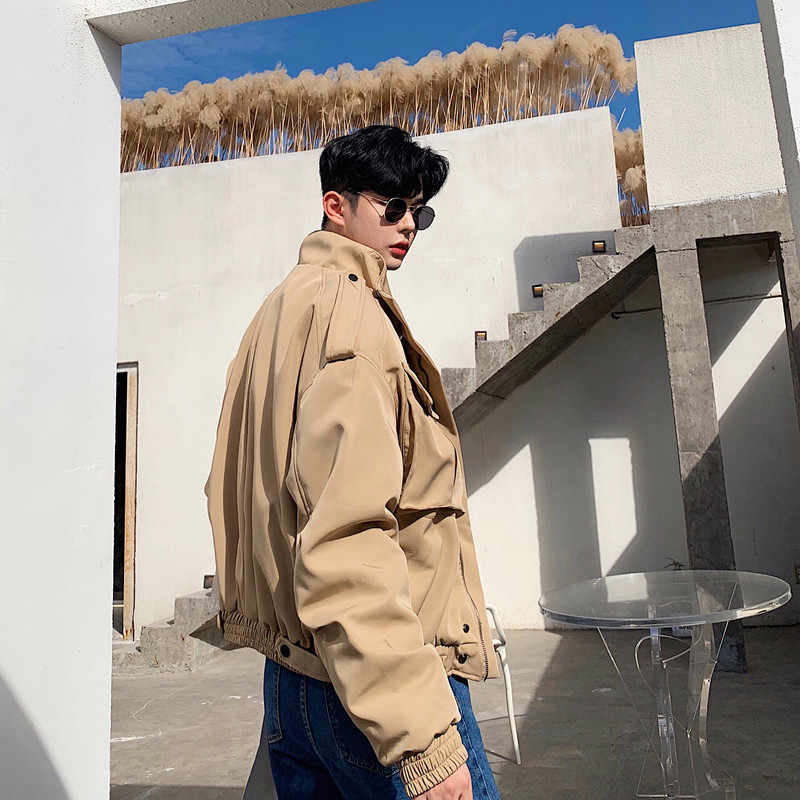 Homens casual vintage curto bombardeiro jaqueta masculina algodão grosso acolchoado motocicleta jaqueta solta streetwear hip hop carga casaco outerwear