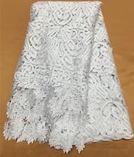 Бесплатная доставка (5 ярдов/шт) красивая африканская кружевная ткань из большого шнура белая гипюровая кружевная ткань с бахромой для платья WL3941