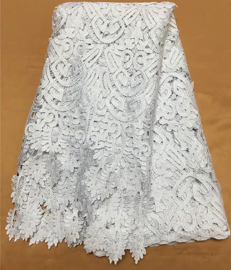 Free shipping (5yards/pc) Beautiful African big cord lace fabric  white guipure lace fabric withh fashion tassel for dress WL3941cord  laceguipure laceguipure lace fabric