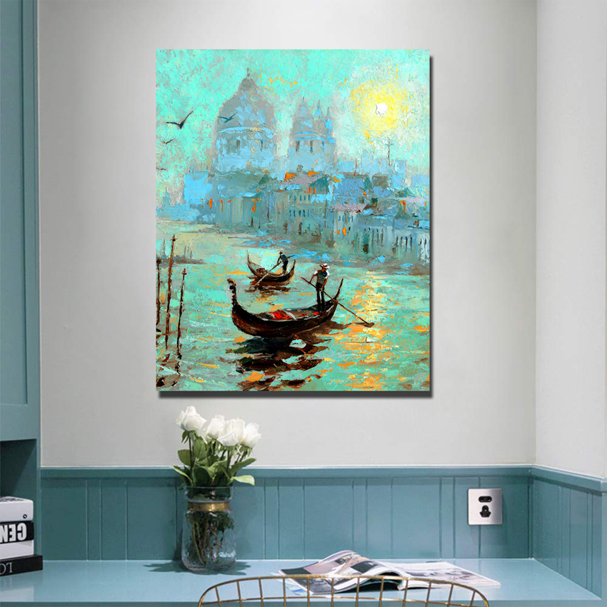 100% handmade Venice <font><b>boat</b></font> oil painting On Canvas For Abstract Palette <font><b>Knife</b></font> Painting Living Room Wall Decor Artwork Fine image