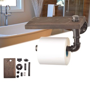 Image 4 - Industrial Silver Urban Rustic Iron Pipe Toilet Paper Roller Holder Bathroom Wood Shelf Storage Tissue Hanging Rack Wooden Shelf