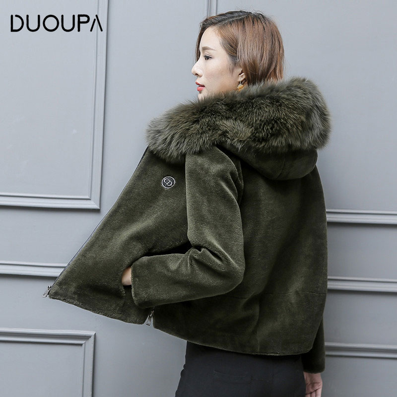 Fur Coat Shearing Grass-Jacket Short Hooded Sheep Autumn Winter And Fox-Fur DUOUPA Female