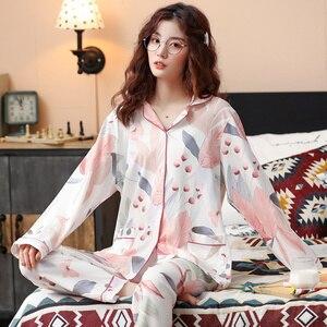 Image 5 - BZEL Neue Herbst Winter Nachtwäsche 2 Stück Sets Für frauen Baumwolle Pyjamas drehen unten Kragen Homewear Große Größe pijama Pyjama XXXL