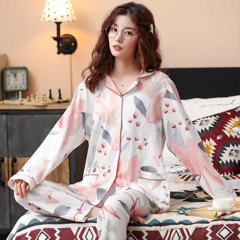 Bzel Nieuwe Herfst Winter Nachtkleding 2 Stuk Sets Voor Vrouwen Katoenen Pyjama Turn-Down Kraag Homewear Grote Maat pijama Pyjama Xxxl