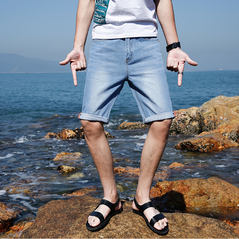 Summer New Style Denim Shorts Men's Korean-style Simple Versatile Slim Fit Short Jeans Men Summer Thin Shorts
