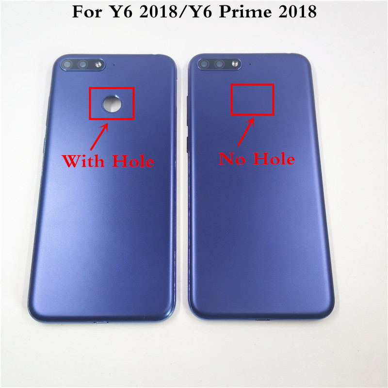 Pour Huawei Y6 2018 Y6 Prime 2018 couvercle de batterie arrière panneau porte arrière boîtier de remplacement avec bouton latéral + objectifs de lappareil photo