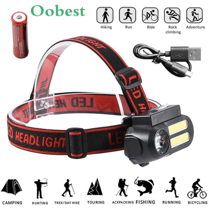 Portable Mini LED Fishing Headlamp Outdoor Camping Hiking Headlight Head Lamp XPE+COB LED Flashlights Lantern use 18650 Battery