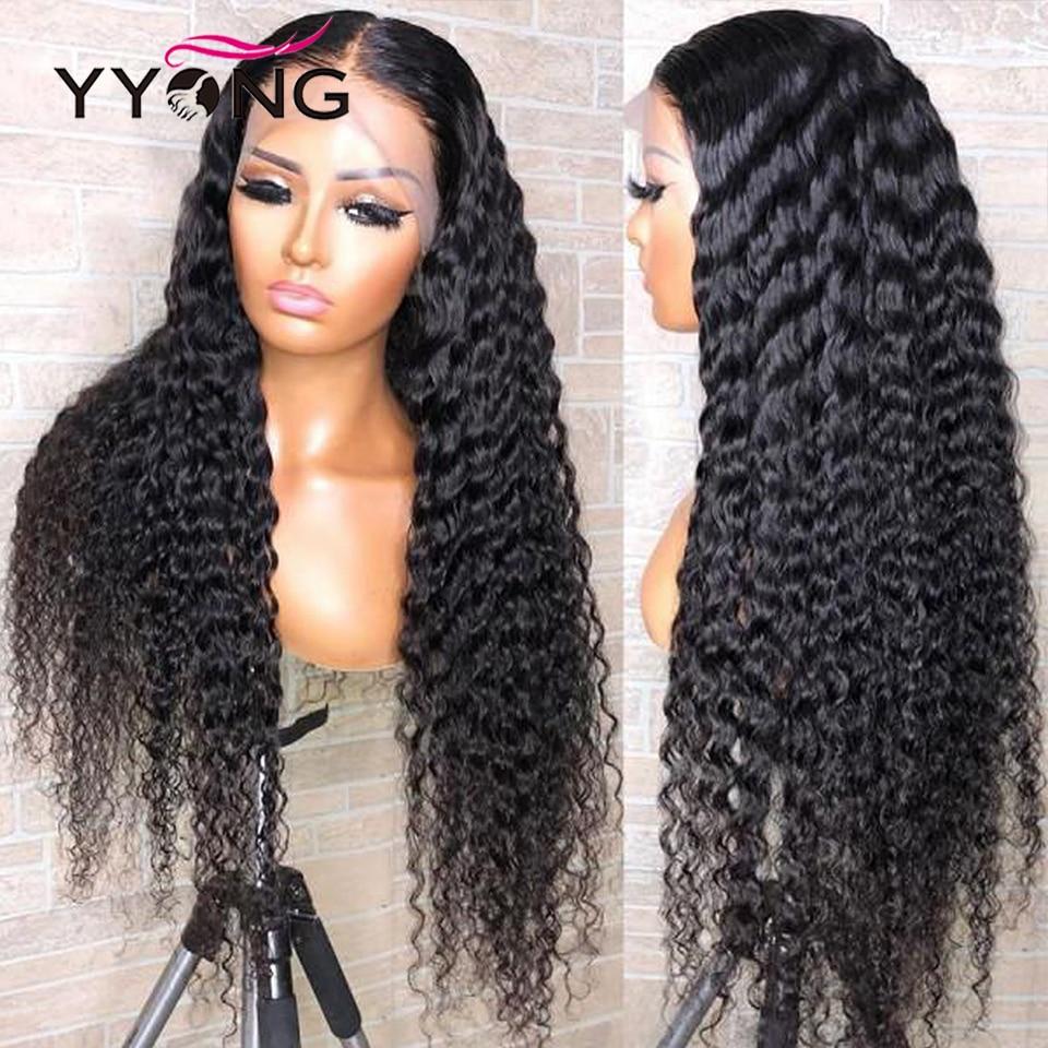 YYong 1x4 & 13x6 T partie brésilienne dentelle avant perruque de cheveux humains vague profonde HD Transparent dentelle perruques Remy partie profonde perruques 120% 32 pouces