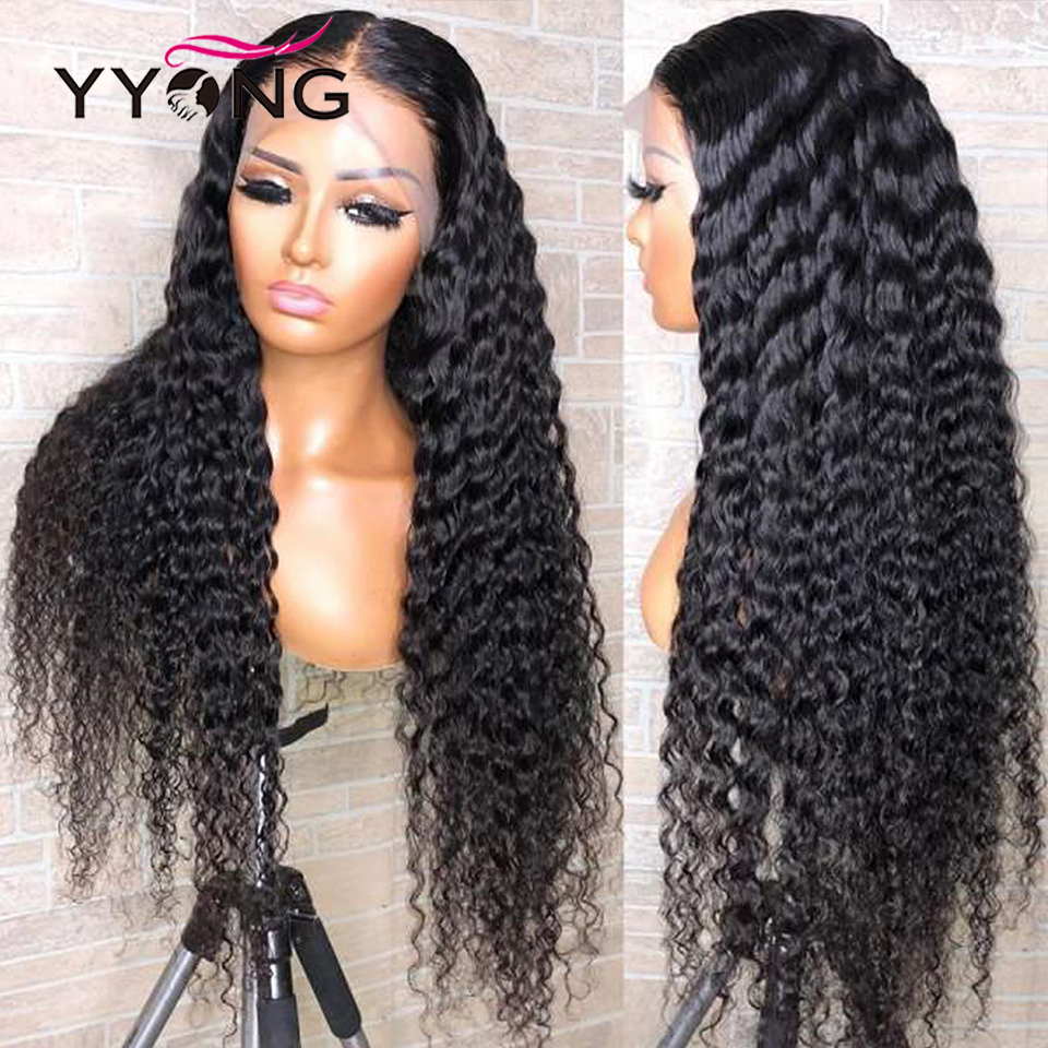 Yyong 1x4 & 13x6 t parte dianteira do laço brasileiro peruca de cabelo humano onda profunda hd perucas de renda transparente remy parte profunda perucas 120% 32 polegada