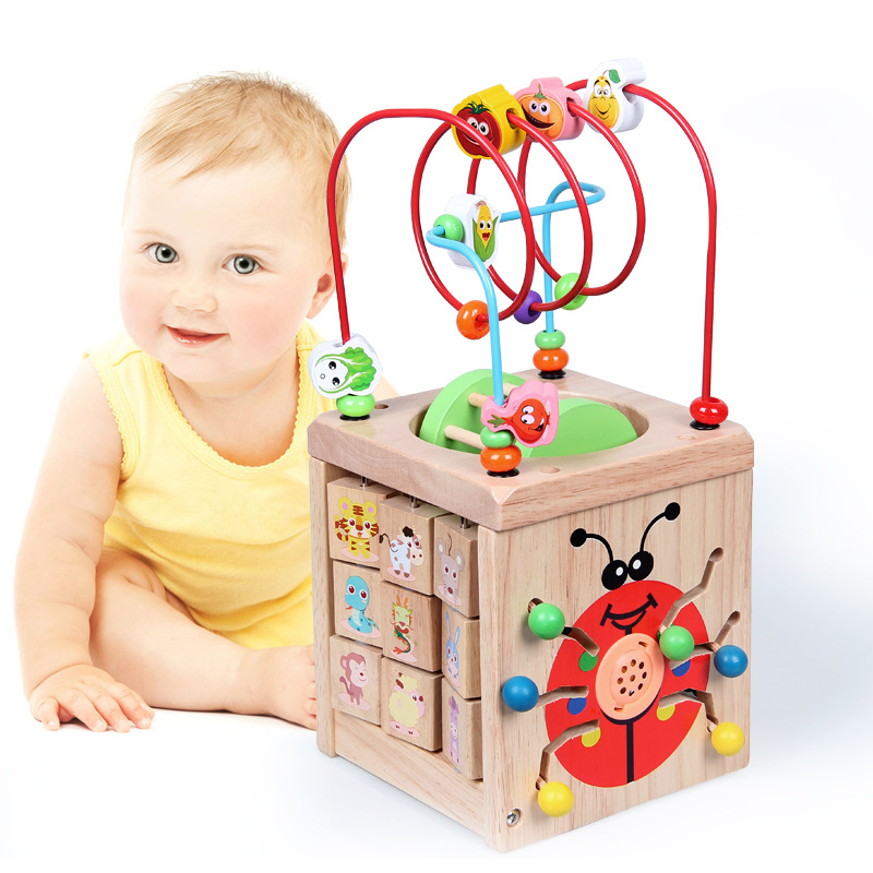 Four Sides Multi-functional Large Size Bead-stringing Toy Treasure Chest Baby Beaded Bracelet Children Wooden Educational Early