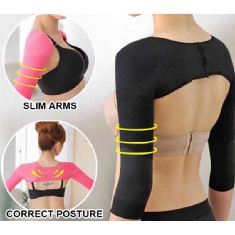 Corretor de postura 2 em 1, modelador de braço para mulheres, corretor de postura para emagrecimento, envoltório de compressão