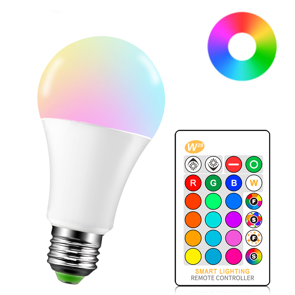 LED Color Bulb Seven Color Remote Control RGB Bulb E27 Spiral Mouth Outdoor Decoration Indoor Small Night Light