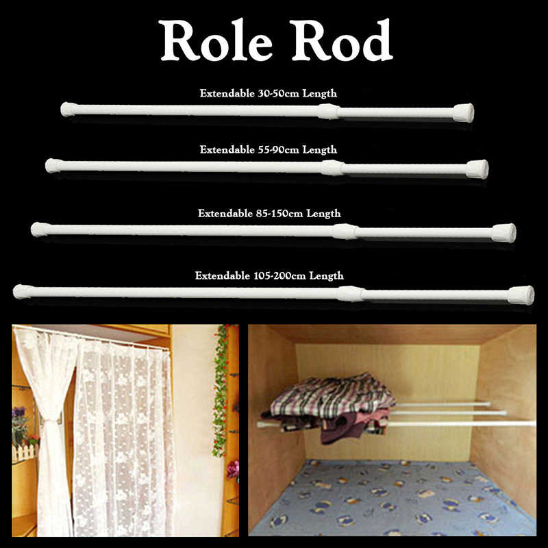 1pcs spring telescopic net voile tension curtain rail household curtain rods bathroom pole rod adjustable high carbon steel rods