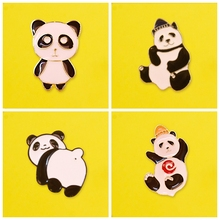 Cute Panda Pin Cartoon Badge On Clothes Brooches Metal Badges Enamel Pins For Backpack Set Lapel Pin Bag Badge Gifts Anime Icons