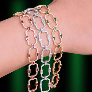 Image 4 - GODKI luksusowe kwadratowe ogniwo łańcucha bransoletki bransoletki Cubic cyrkon CZ Vintage czeski mankietów bransoletki dla kobiet biżuteria Femme