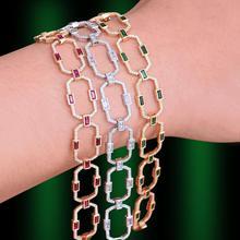GODKI pulsera de cadena con eslabones cuadrados para mujer, brazaletes de zirconia cúbica, brazalete bohemio Vintage, joyería