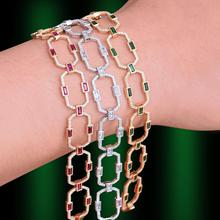 Godki Luxe Vierkante Link Chain Armbanden Bangles Cubic Zirkoon Cz Vintage Bohemian Manchet Armbanden Voor Vrouwen Femme Mode sieraden